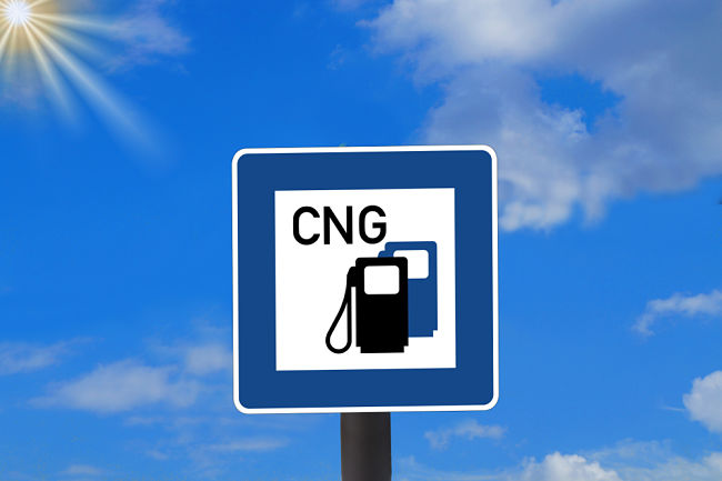 Značka upozorňující na čerpací stanici CNG