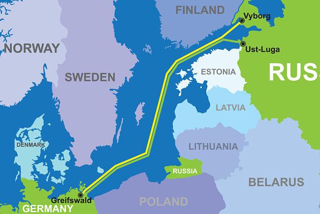 Mapa Nord Stream 2