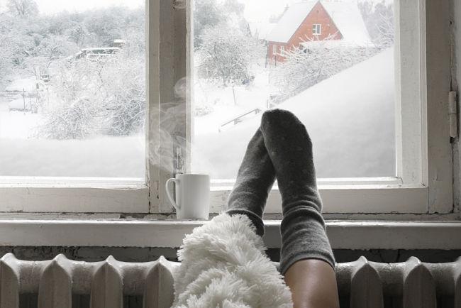 Plynové topení v zimě.