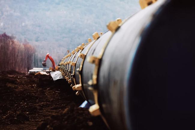 Budování plynovodu Nord Stream.